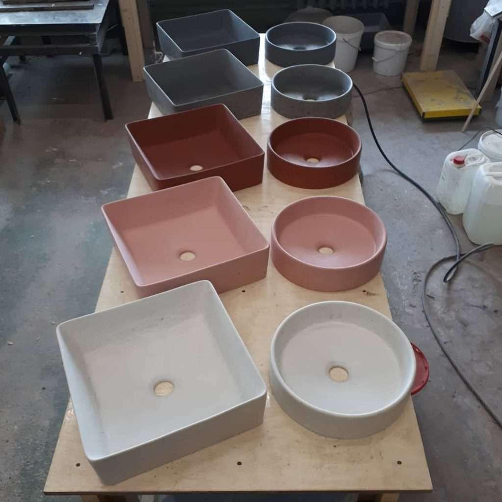 цветовая гамма бетонных раковин